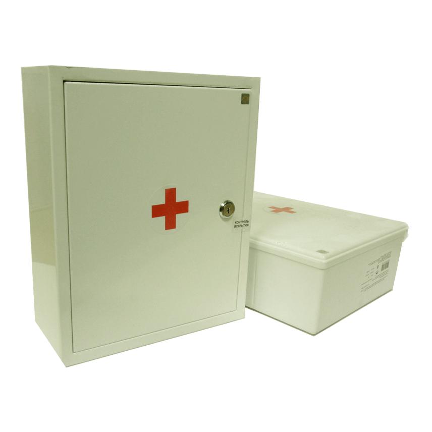 Аптечки первой помощи работникам в металлическом и пластиковом шкафах